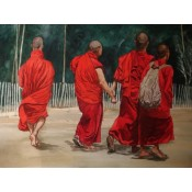 Monks walking in sunshine2